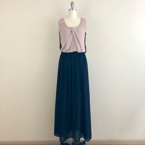 A'reve Pleated Lace Sleeveless Long Dress